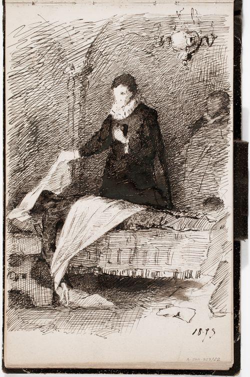Historiallinen kohtaus kuolinvuoteen vierellä, mahdollisesti jonkin maalauksen mukaan. Merkitty 1879