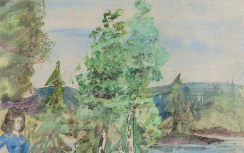 Maisema, jossa vasemmassa alanurkassa nainen