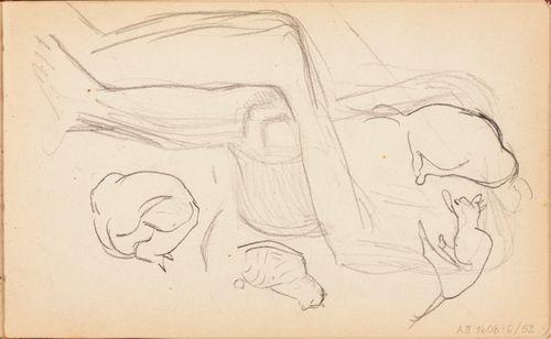 Istuvan miehen hahmo ja kissoja, luonnos