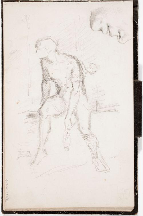 Nenä, suu ja leuka ; istuva käsivarttaan roikuttava mies