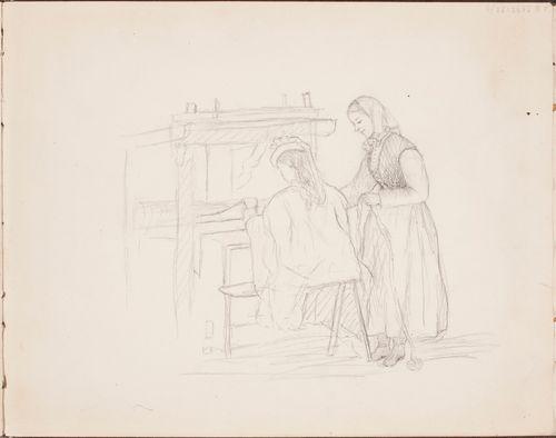 Kaksi naista kangaspuiden ääressä