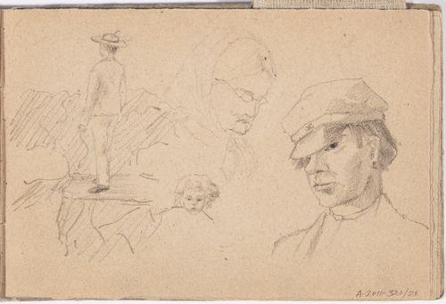Nuori mies raunioissa ; isoäiti ; lapsen kasvot ; poika lippalakki päässä, rintakuva