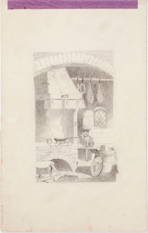 Keittiön sisäkuva, takka, kirves, saavi, kinkut, makkarat, kissa, paistinpannu, merkintä takassa: 1872