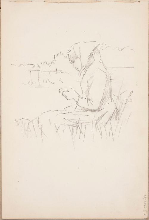 Ulkona istuva nainen
