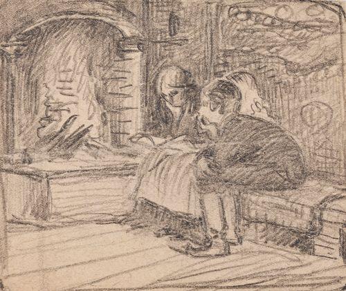 Äiti lukee lapsille takkatulen loimussa