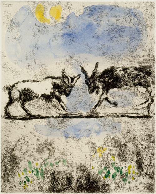 Kaksi vuohta. Kuvitusta La Fontainen Faabeleihin, sarja nro 74