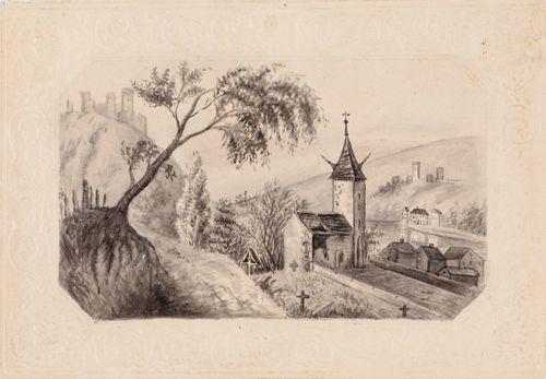 Saksalainen maisema, jossa kirkko ja linnanraunioita joen rannalla.