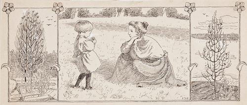 Triptyykki; äiti ja pieni lapsi niityllä, vieressä puuaiheet