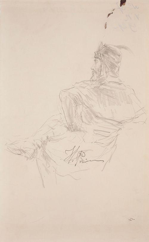 Istuva kypäräpäinen mies, harjoitelma