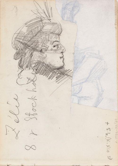 Naisen profiili. Kirjoitusta. Todennäk. 1886-88 Ranskan-matkalla. Muistiinpanoja