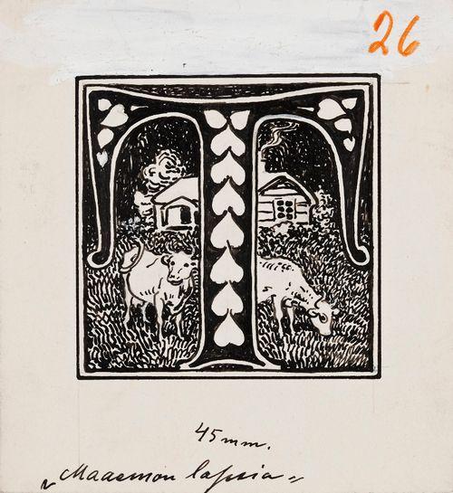 T-kirjain, mökki ja kaksi lehmää