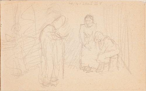 Kepin kanssa kulkeva vanhus ; luonnos maalaukseen Jälkeen jääneet, 1902