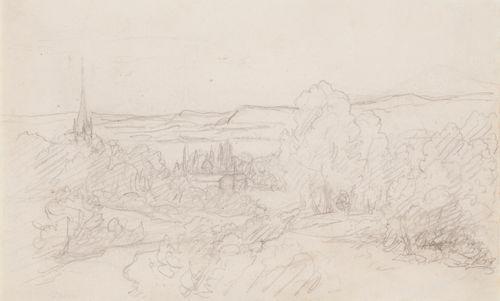 Maisema, metsää, vuoria ja kirkontorni