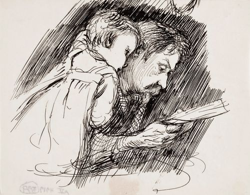 Isä lukee lapselle