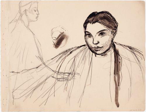 Huivipäisen miehen profiili ; Naisen rintakuva, luonnos maalaukseen  Melankolia