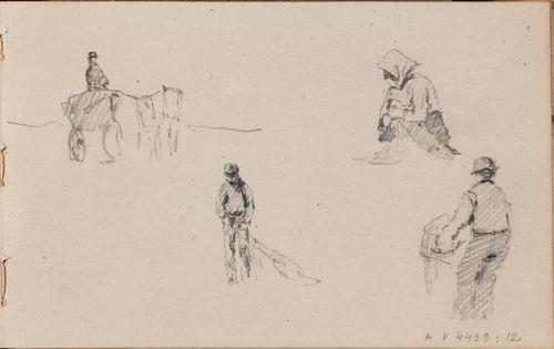 hevonen ja rattaat, vanha nainen, kaksi työskentelevää miestä