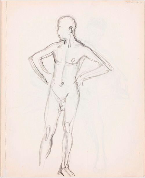 Seisova alaston miesmalli, edestä
