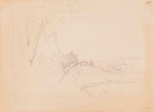 Maisemaharjoitelma, jossa puita, tie, tiellä kulkeva hevoskuorma ja oikealla taustalla kirkontorni ; Samanaiheinen harjoitelma (kaksipuolinen teos)
