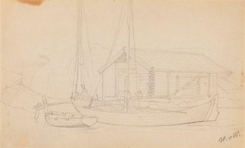 Rantalaituri, luonnos maalaukseen Rantalaituri ja venevaja (A IV 3570)