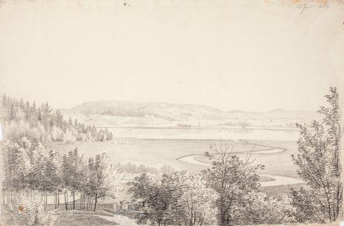 Maisema, jossa on lehtimetsää, joki ja järvi