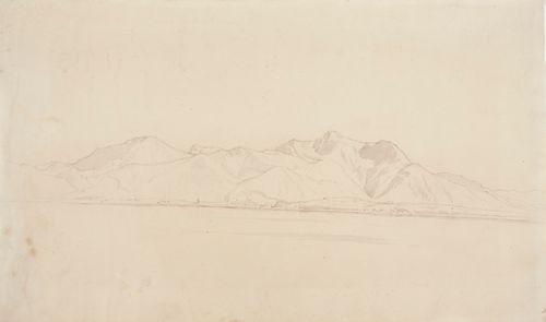 Vuoristomaisema, etualalla järvi, taustalla paljaita vuorenhuippuja