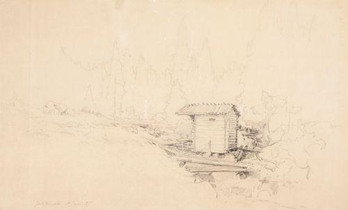 Pieni koski ja sen partaalla pieni hirsirakennus ; Männynlatvoja, laveeraus (kaksipuolinen teos)