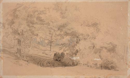 Metsämaisema, jossa hevonen ja kärryt ; Metsäinen maisema,  mies onkimassa puron ylittävällä sillalla (kaksipuolinen teos)