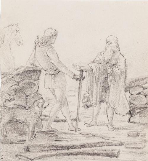 Kuvitusluonnos Esaias Tegnérin teokseen Frithiofs saga