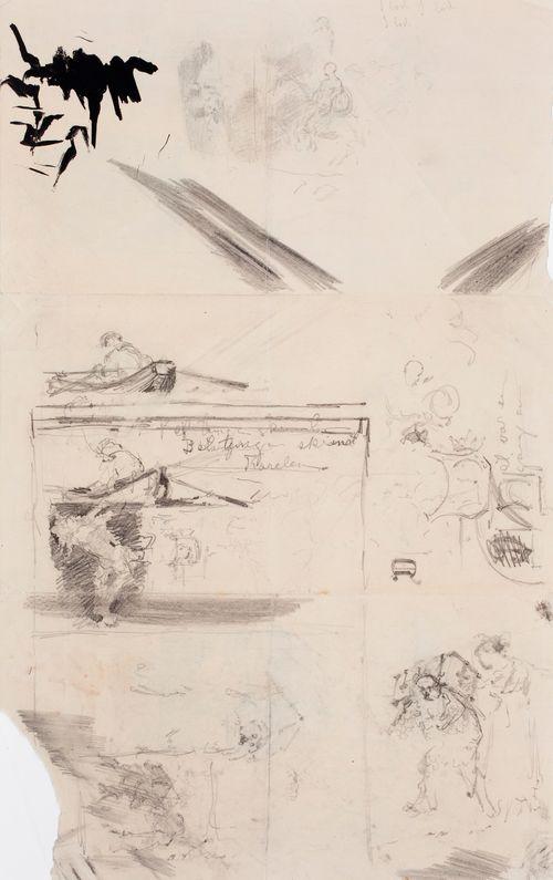 Kuvitusta kirjaan Finska Folksagor, Berättade af Rafaël Hertzberg, satu Det tunga skrinet, luonnoksia sivun 34 kuvitukseen, alkukirjainluonnos ym. luonnoksia
