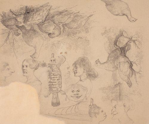 Kompositioluonnos kahteen tauluun, metsopari oksalla ja riekkoja mäellä. Lisäksi karikatyyrikasvoja