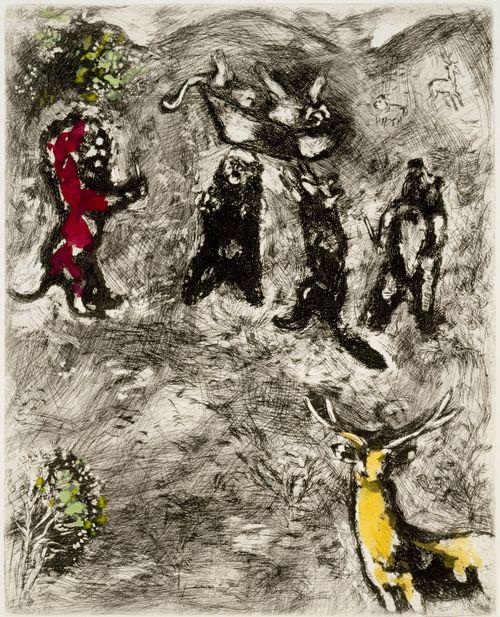Naarasleijonan hautajaiset. Kuvitusta La Fontainen Faabeleihin, sarja nro 74