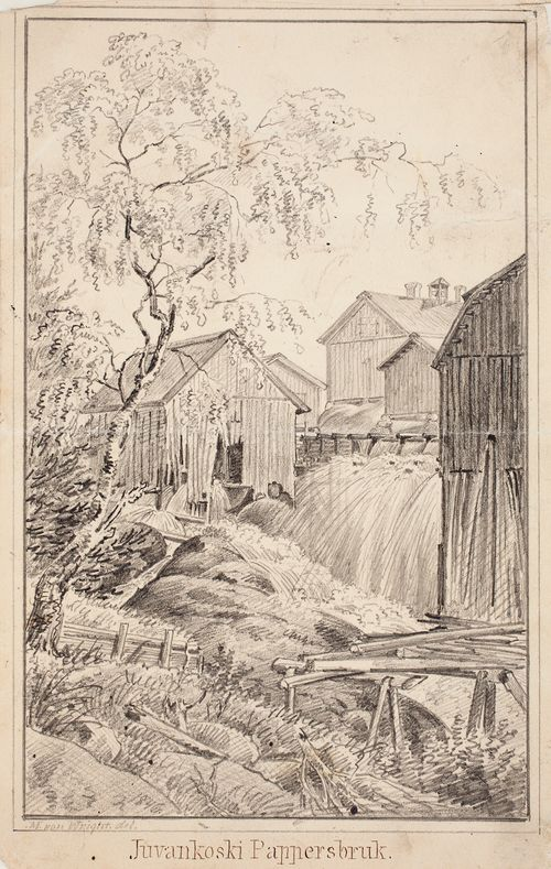 Juvankoski Paper Mill, original drawing for Finland Depicted in Drawings