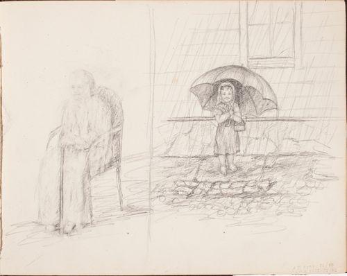 Istuva vanha nainen ; pikkutyttö ja sateenvarjo