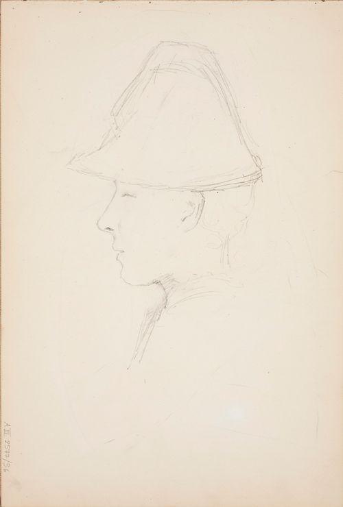 Hattupäisen naisen pää, profiili