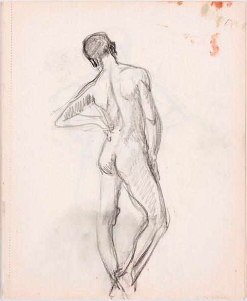 Seisova alaston miesmalli, takaa
