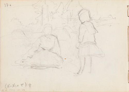 Nainen ja tyttö luonnossa. Todennäk. 1886-88.