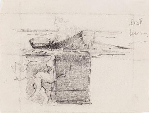 Kuvitusta kirjaan Finska Folksagor, Berättade af Rafaël Hertzberg, satu Det tunga skrinet, luonnos sivun 34 kuvitukseen