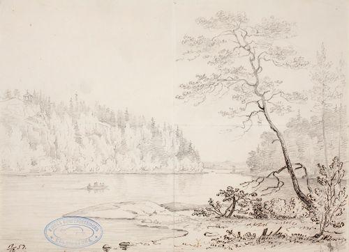 Maisema, jossa keskellä on salmi ja taustalla vasemmalla jyrkkä kallioranta