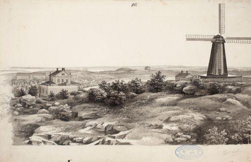 Landskap med väderkvarn