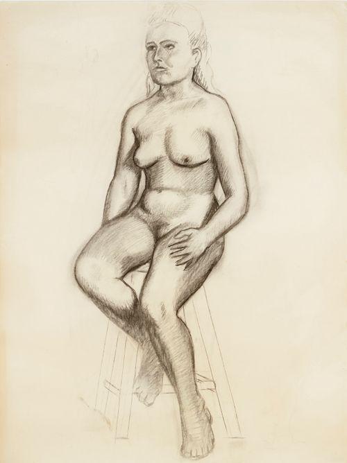 Alastonmalliharjoitelma, istuva naismalli