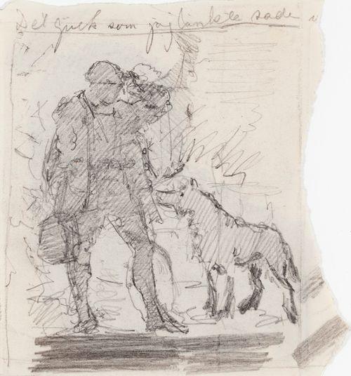 Kuvitusta kirjaan Finska Folksagor, Berättade af Rafaël Hertzberg, satu Guldfogeln, luonnos sivun 13 kuvitukseen