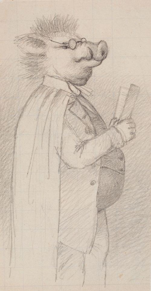 Karikatyyri; mies, jolla sian pää