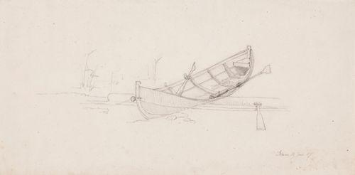 Maihin tukin päälle vedetty soutuvene