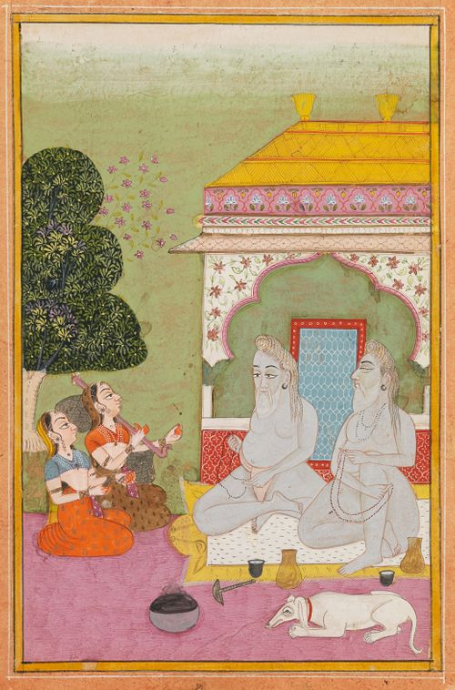 Kaksi naista soittaa kahdelle pyhälle miehelle (sadhulle)