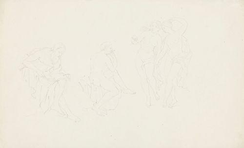 Neljä antiikin figuuria, vanha lukeva mies, alaston huilua soittava nuorukainen, kaksi alastonta tanssivaa naista