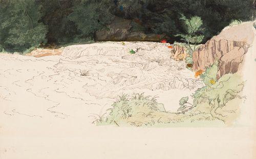 Koski, synkkä metsä, kallio ja ruohikkoinen ranta ; keskeneräinen ; Valjastettu hevonen, tussipiirustus (kaksipuolinen teos)