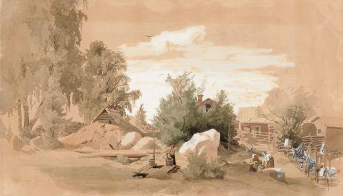 Talon piha, vaatteita peseviä naisia Tuomarinkylässä