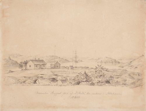 Kuunari Hoppet ankkurissa Rödhamnissa Ahvenanmaalla 26.6.1853