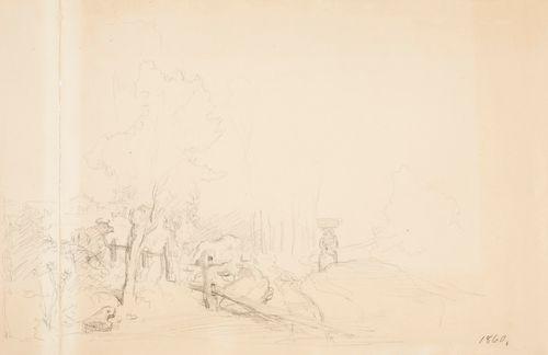 Maisema,  jossa nainen kulkee tiellä kori päänsä päällä  ja aidan vieressä seisoo lehmä