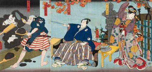 Näyttelijät Onoe Baiko, Ichikawa Danjuro VIII, Ichikawa Ichizo ja Ichikawa Kodanji IV näytelmässä Hana no Misaka nekomata soshi (Misakan kummituskissa)